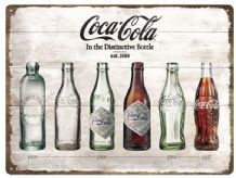 Coca Cola Bottle through the Years - 3D  Metal Wall Sign